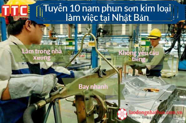 Thông báo tuyển 10 Nam làm phun sơn kim loại tại Nhật Bản làm trong nhà xưởng