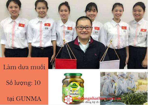 Đơn hàng LÀM DƯA MUỐI tại Gunma cần chốt gấp 10 Nam/ Nữ thi tuyển ngay